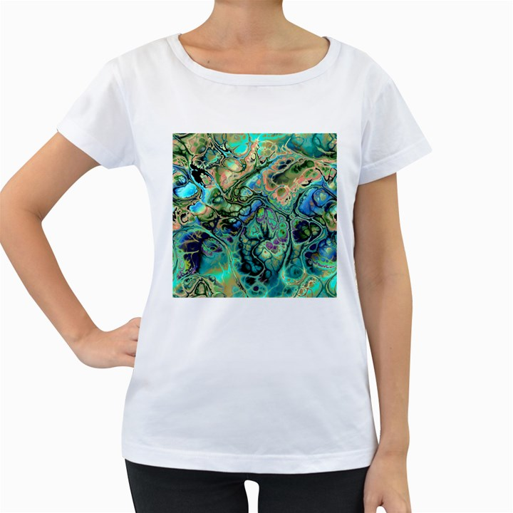 Fractal Batik Art Teal Turquoise Salmon Women s Loose-Fit T-Shirt (White)