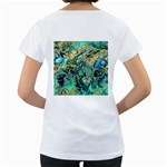 Fractal Batik Art Teal Turquoise Salmon Women s Loose-Fit T-Shirt (White) Back