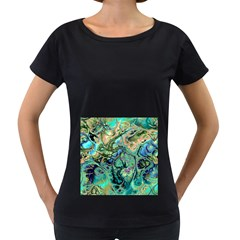 Fractal Batik Art Teal Turquoise Salmon Women s Loose-Fit T-Shirt (Black)