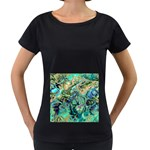 Fractal Batik Art Teal Turquoise Salmon Women s Loose-Fit T-Shirt (Black) Front