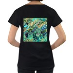 Fractal Batik Art Teal Turquoise Salmon Women s Loose-Fit T-Shirt (Black) Back