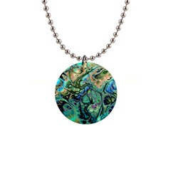 Fractal Batik Art Teal Turquoise Salmon Button Necklaces