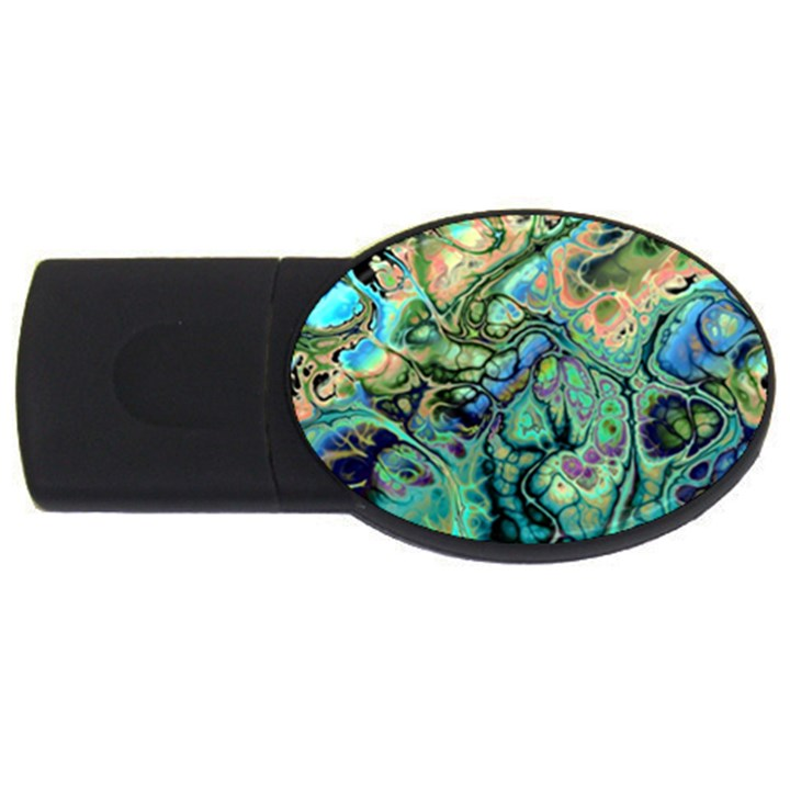 Fractal Batik Art Teal Turquoise Salmon USB Flash Drive Oval (4 GB)