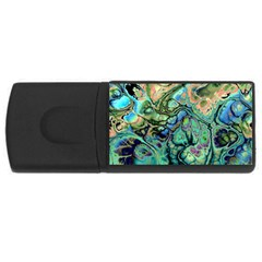 Fractal Batik Art Teal Turquoise Salmon Usb Flash Drive Rectangular (4 Gb)