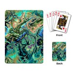 Fractal Batik Art Teal Turquoise Salmon Playing Card Back