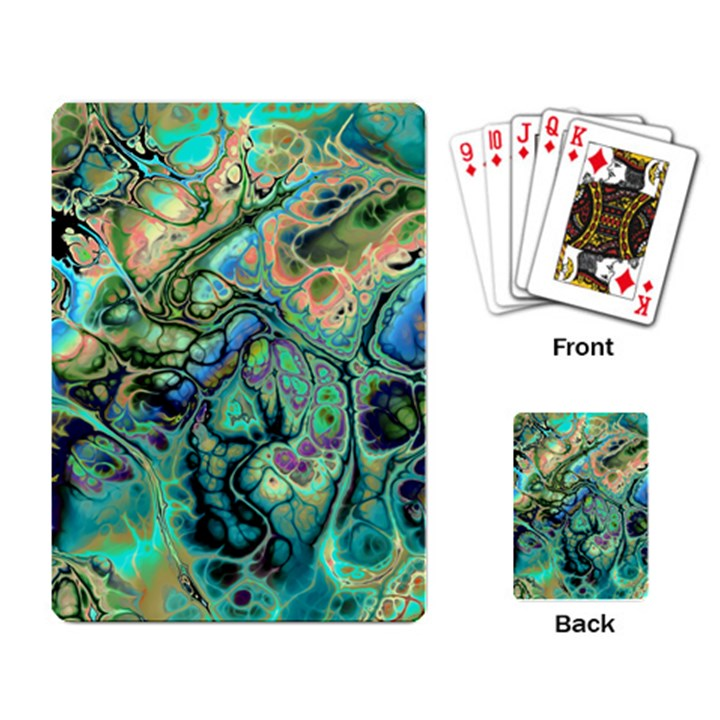 Fractal Batik Art Teal Turquoise Salmon Playing Card