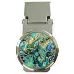 Fractal Batik Art Teal Turquoise Salmon Money Clip Watches Front
