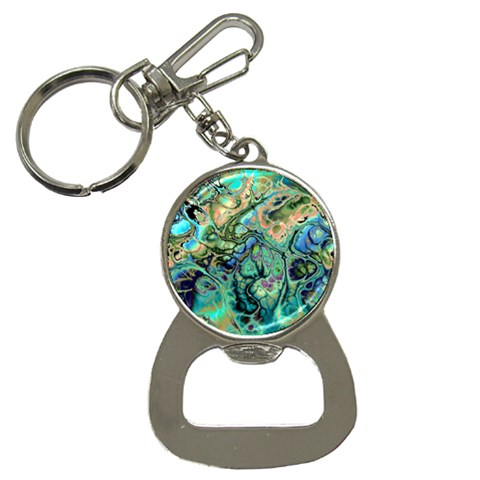 Fractal Batik Art Teal Turquoise Salmon Bottle Opener Key Chains