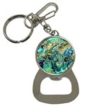 Fractal Batik Art Teal Turquoise Salmon Bottle Opener Key Chains Front