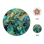 Fractal Batik Art Teal Turquoise Salmon Playing Cards (Round)  Front