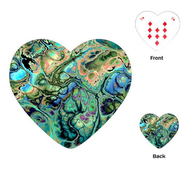 Fractal Batik Art Teal Turquoise Salmon Playing Cards (Heart)