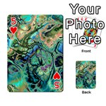Fractal Batik Art Teal Turquoise Salmon Playing Cards 54 Designs  Front - Heart5