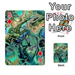 Fractal Batik Art Teal Turquoise Salmon Playing Cards 54 Designs  Front - Diamond5
