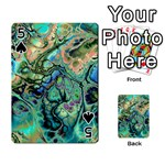 Fractal Batik Art Teal Turquoise Salmon Playing Cards 54 Designs  Front - Spade5