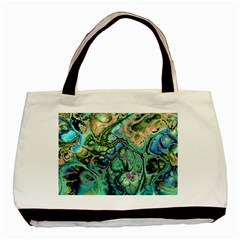Fractal Batik Art Teal Turquoise Salmon Basic Tote Bag