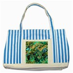 Fractal Batik Art Teal Turquoise Salmon Striped Blue Tote Bag Front