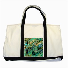 Fractal Batik Art Teal Turquoise Salmon Two Tone Tote Bag