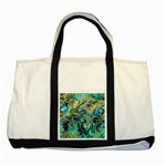 Fractal Batik Art Teal Turquoise Salmon Two Tone Tote Bag Front