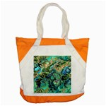 Fractal Batik Art Teal Turquoise Salmon Accent Tote Bag Front