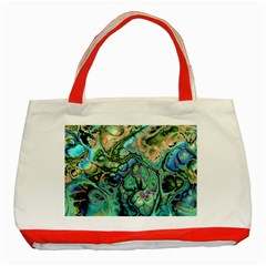 Fractal Batik Art Teal Turquoise Salmon Classic Tote Bag (red)