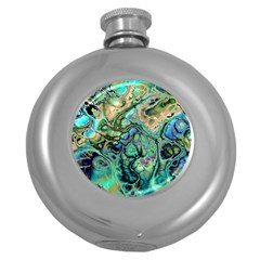 Fractal Batik Art Teal Turquoise Salmon Round Hip Flask (5 oz)