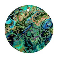 Fractal Batik Art Teal Turquoise Salmon Round Ornament (Two Sides)