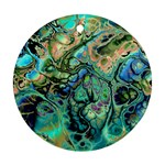 Fractal Batik Art Teal Turquoise Salmon Round Ornament (Two Sides)  Back