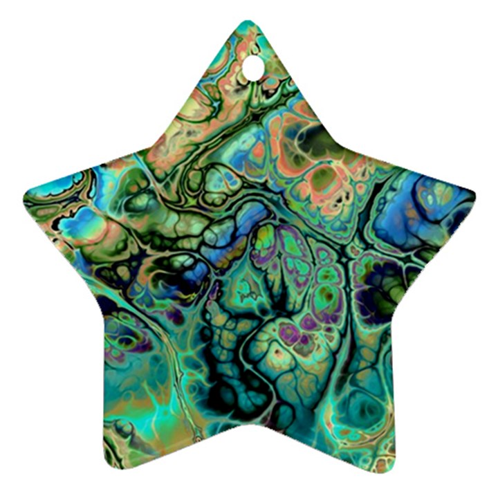 Fractal Batik Art Teal Turquoise Salmon Star Ornament (Two Sides)