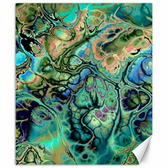 Fractal Batik Art Teal Turquoise Salmon Canvas 20  X 24