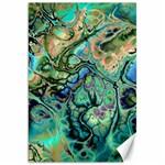 Fractal Batik Art Teal Turquoise Salmon Canvas 20  x 30   30 x20 Canvas - 1