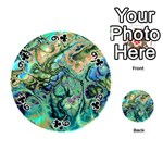 Fractal Batik Art Teal Turquoise Salmon Playing Cards 54 (Round)  Front - Club9