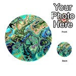 Fractal Batik Art Teal Turquoise Salmon Playing Cards 54 (Round)  Back