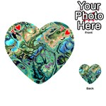 Fractal Batik Art Teal Turquoise Salmon Playing Cards 54 (Heart)  Front - Heart7