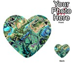 Fractal Batik Art Teal Turquoise Salmon Playing Cards 54 (Heart)  Front - Club3