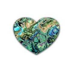 Fractal Batik Art Teal Turquoise Salmon Rubber Coaster (heart)