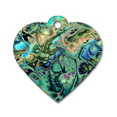 Fractal Batik Art Teal Turquoise Salmon Dog Tag Heart (one Side)