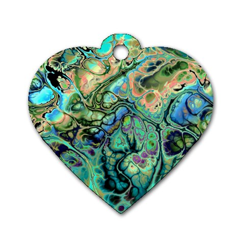 Fractal Batik Art Teal Turquoise Salmon Dog Tag Heart (Two Sides)