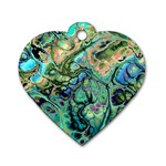 Fractal Batik Art Teal Turquoise Salmon Dog Tag Heart (Two Sides) Front