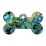 Fractal Batik Art Teal Turquoise Salmon Dog Tag Bone (Two Sides) Front