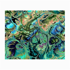 Fractal Batik Art Teal Turquoise Salmon Small Glasses Cloth (2 Side)