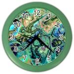 Fractal Batik Art Teal Turquoise Salmon Color Wall Clocks Front