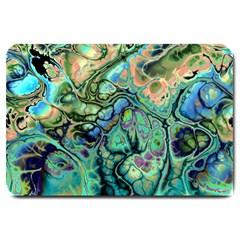 Fractal Batik Art Teal Turquoise Salmon Large Doormat