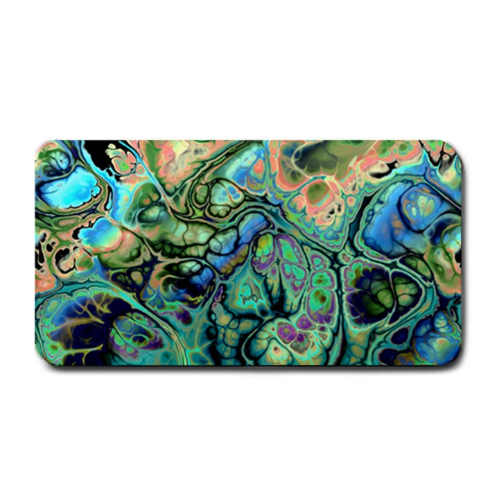 Fractal Batik Art Teal Turquoise Salmon Medium Bar Mats
