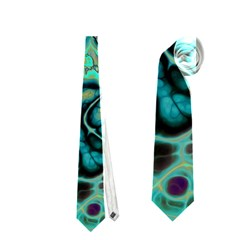 Fractal Batik Art Teal Turquoise Salmon Neckties (one Side)