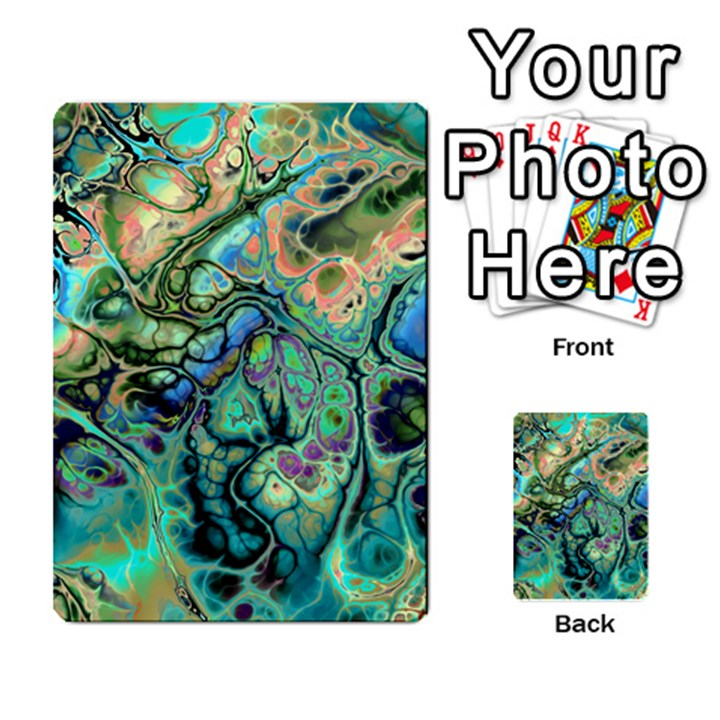 Fractal Batik Art Teal Turquoise Salmon Multi-purpose Cards (Rectangle)
