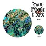 Fractal Batik Art Teal Turquoise Salmon Multi-purpose Cards (Round)  Back 44