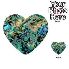 Fractal Batik Art Teal Turquoise Salmon Multi Purpose Cards (heart)