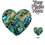 Fractal Batik Art Teal Turquoise Salmon Multi-purpose Cards (Heart)  Front 3