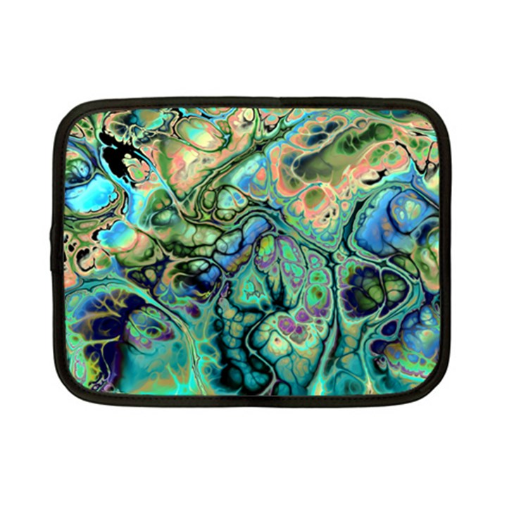 Fractal Batik Art Teal Turquoise Salmon Netbook Case (Small)