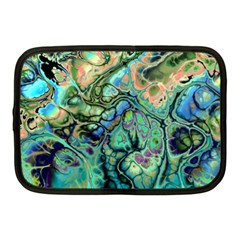 Fractal Batik Art Teal Turquoise Salmon Netbook Case (Medium)